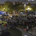 a view of the festival from above after dark
