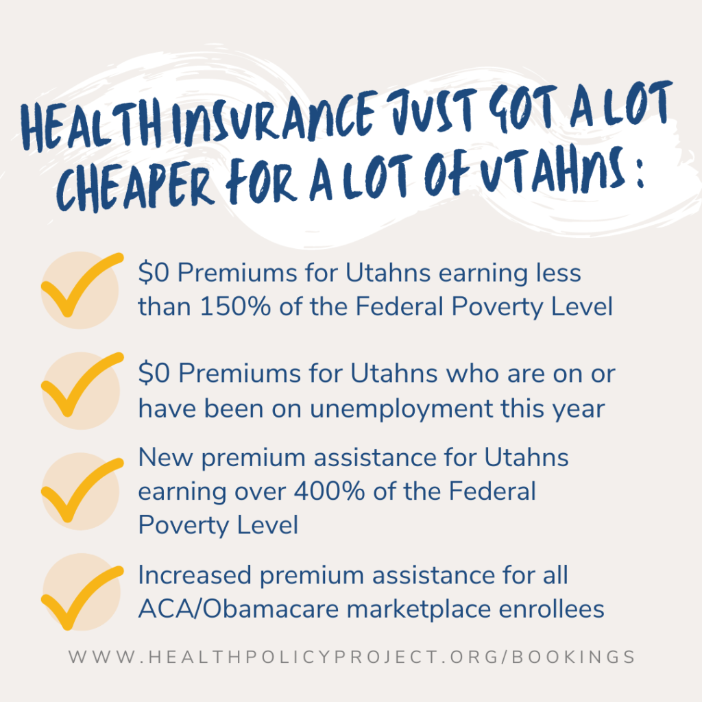 health insurance just got a lot cheaper for a lot of utahns - $0 premiums for utahns under 150% fpl or on unemployment, new assistance for all ACA enrollees and those over 400% fpl