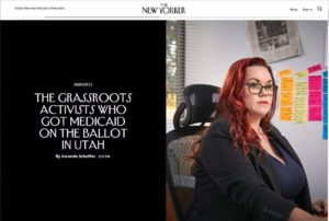 "screencap of the New Yorker with Stacy's photo and the title ""The Grassroots Activists Who Got Medicaid on the Ballot in Utah"""