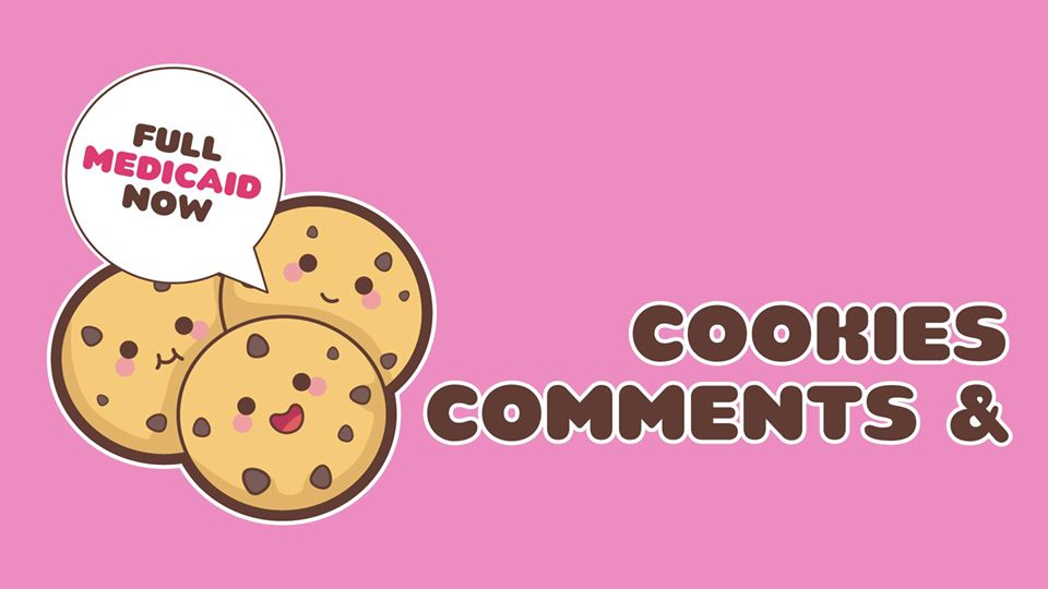 """pink background with three cookies and a headline """"cookies and comments"""""""
