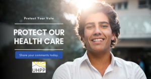 "image of a man with the caption ""protect your vote, protect our health care, share your comments today"""