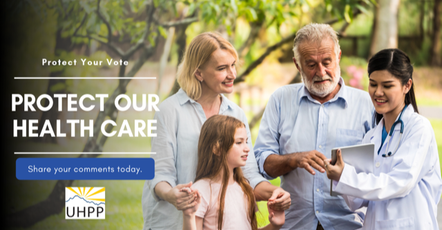 "graphic of a doctor and a family captioned ""protect your vote, protect our health care, share your comments today"""
