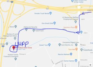 map of how to reach the UHPP office: From Redwood Road, turn onto Printers Row and follow the winding road until you reach 2369 Orton Circle