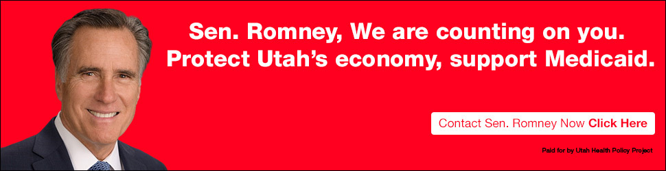 """Sen. Romney, we are counting on yo. Protect Utah's economy, support Medicaid"" on a red background with an image of Senator Romney"