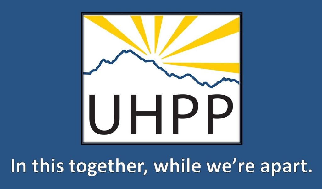 "uhpp logo and ""in this together, while we're apart"""