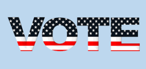 """vote"" in red white and blue"